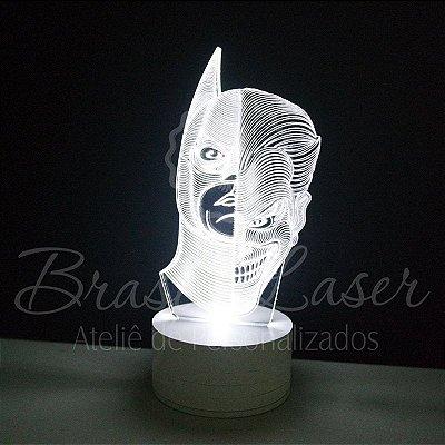Abajur Luminária de Led sem Fio com Acrílico Grosso Iluminado - Batman e Coringa 3D - Veja opções de Tamanho no Anúncio