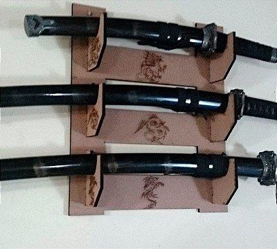 Suporte Triplo de Espadas para Parede Samurai Katana Wakizashi Tanto
