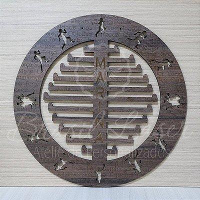 Porta Medalhas Corrida  Cor Tabaco Estilo Mandala Personalizado