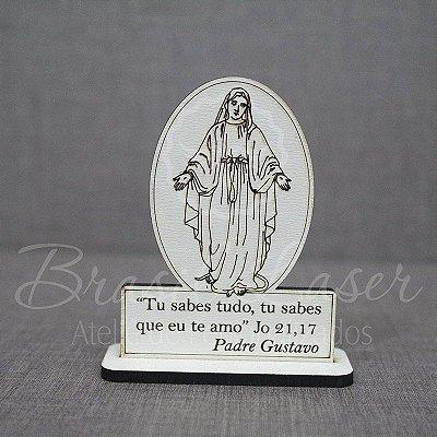 300 Lembrancinhas para Paróquia em Mdf Branco, Nossa Senhora com gravação de frase.