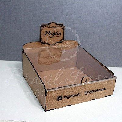 4 Expositores de Brownie com 24x24cm em Mdf com tampa em acrílico transparente MONTADOS