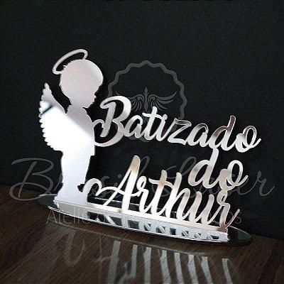 Topo De Bolo Batizado - com 20cm (maior lado da peça) - Cor à Escolher