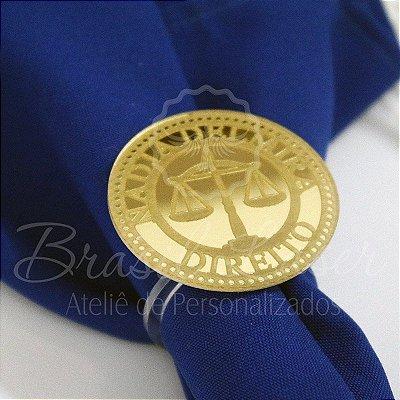 1 Porta Guardanapo Formatura de Direito em Acrílico Espelhado Dourado ou Prata - #Quantidade Mínima: 10 unidades iguais#