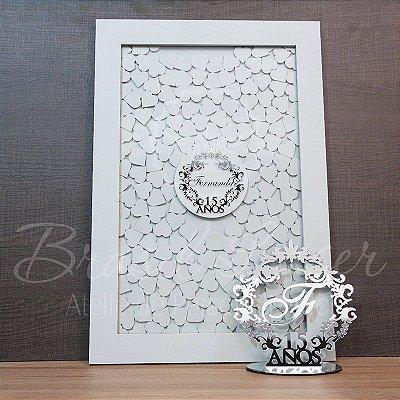 Kit! 1 Topo de Bolo Prata 20 cm + 1 Quadro de Assinaturas Branco com Prata