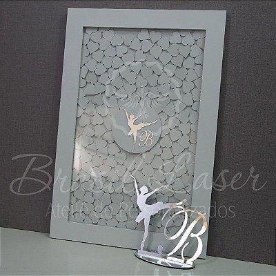 Kit Bailarina ! 1 Topo de Bolo Prata 20 cm + 1 Quadro de Assinaturas Branco com Prata
