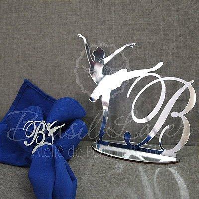 Kit Bailarina 3 ! 100 Porta Guardanapos Pintados + 1 Topo de Bolo em Acrílico Espelhado Prata 20cm