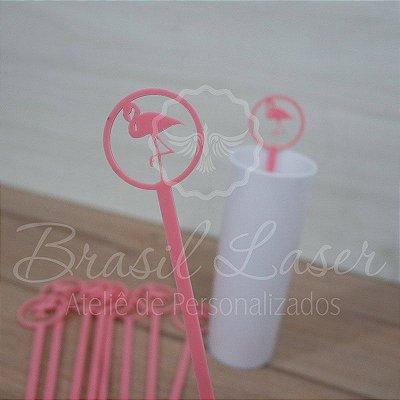 1 Mexedor (Misturador) para Bebidas Flamingo em Acrílico - #Quantidade Mínima: 10 unidades iguais#