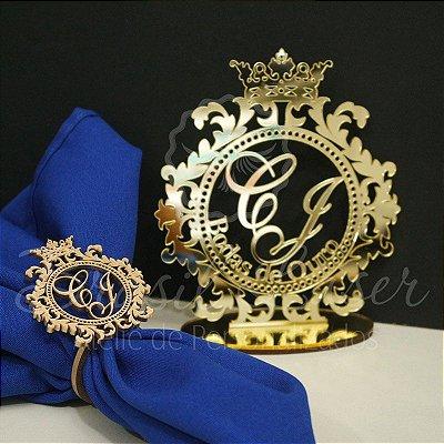 Kit Bodas de Ouro - 100 Porta Guardanapos Pintados de Dourado + 1 Topo de Bolo Espelhado Dourado 20 cm