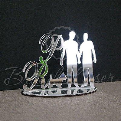 Topo De Bolo Homoafetivo com 14cm (maior lado da peça) - Cor à Escolher