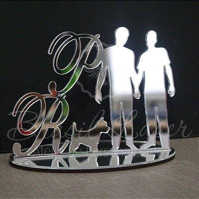 Topo De Bolo Homoafetivo com 20cm (maior lado da peça) - Cor à Escolher