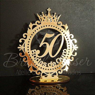 Topo De Bolo Bodas de Ouro com 14cm (maior lado da peça) - Cor à Escolher