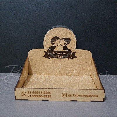 10 Expositores de Brownie / Alfajor / Palha Italiana / Cake / Pão de Mel com 22x20cm em Mdf com logomarca gravada