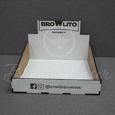 10 Expositores de Brownie / Alfajor / Palha Italiana / Cake / Pão de Mel com 14x20cm em Mdf Branco com logomarca gravada