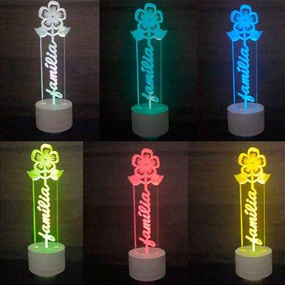 Luminária de Led colorido ou Branco sem Fio com Acrílico Grosso Iluminado escrito Família