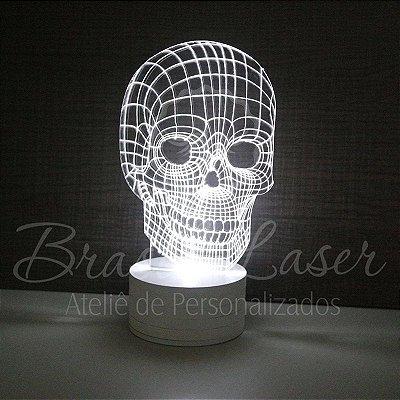 Abajur Luminária de Led sem Fio ( CAVEIRA ) com Acrílico Grosso Iluminado 3D - Veja opções de Tamanho no Anúncio