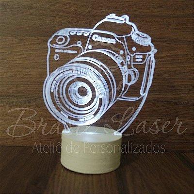 Abajur Luminária de Led sem Fio ( CAMERA CANON ) com Acrílico Grosso Iluminado 3D - Veja opções de Tamanho no Anúncio