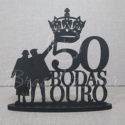 Topo De Bolo Casal Bodas de Ouro - Tamanho com 14 cm (maior lado da peça) - Cor à Escolher