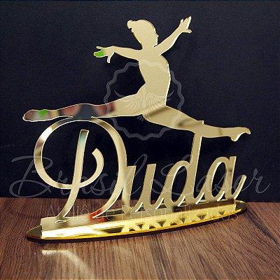 Topo De Bolo Bailarina com 20cm (maior lado da peça) - Cor à Escolher