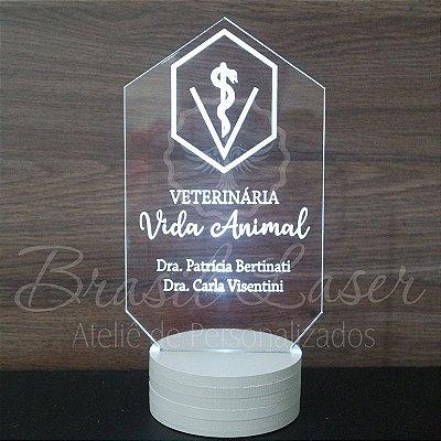 Topo de Led Premium Formatura / Veterinária com Acrílico Grosso Iluminado com Nome Personalizado - Veja opções de Tamanho no Anúncio
