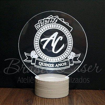 Topo de Led Premium Casino / Las Vegas / Poker com Acrílico Grosso Iluminado com Nome Personalizado - Veja opções de Tamanho no Anúncio