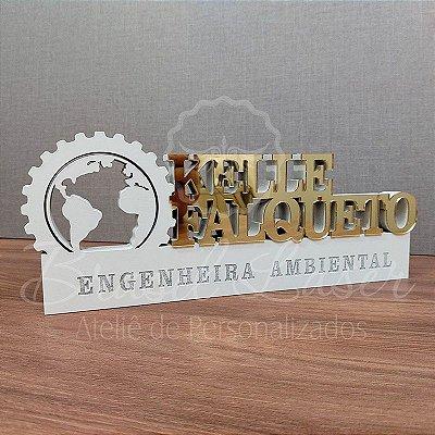 Decoração para  Engenheira ou Engenheiro Ambiental / Formatura de Engenharia Ambiental com Nome Personalizado - **Cor e tamanho são selecionados dentro do anuncio para ver cada preço**
