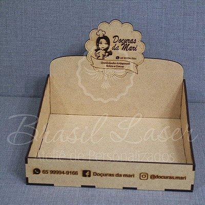 5 Expositores de Brownie com 20x20cm em Mdf com logomarca gravada