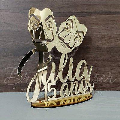Topo De Bolo com Máscaras com 20cm (maior lado da peça) - Cor à Escolher