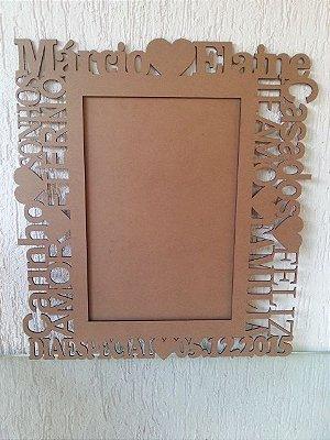 Porta Retrato Gigante com 60 cm de altura, Personalizado com nome do Casal , Data do Casamento e com Palavras de Carinho