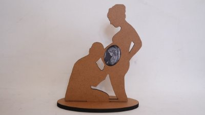 Silhueta Mamãe Grávida com Foto de Ultrassonografia do Bebê