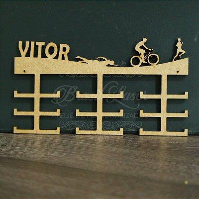 Porta Medalhas TRIATHLON Personalizado Tamanho 45cmx23,7cm Aprox. 36 Medalhas