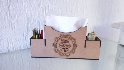 Porta Guardanapo com Porta Sachê BOTECO Personalizado (Nome e Ano)