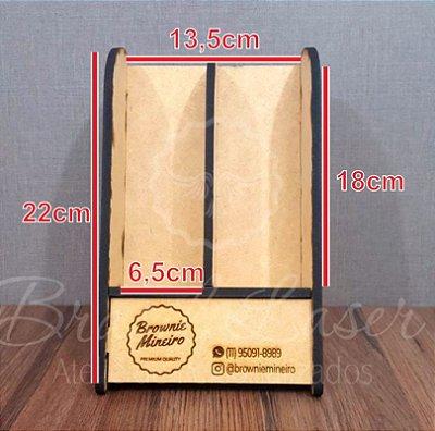 50 Expositores de Brownie em Pé com 22 cm de altura x 13,5 cm de largura em Mdf BRANCO com logomarca gravada