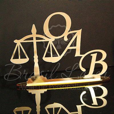 Topo De Bolo OAB Formatura de Direito - Tamanho com 14cm (maior lado da peça) - Cor à Escolher