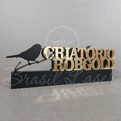 Decoração para Criatório de Pássaros com Nome Personalizado - **Cor e tamanho são selecionados dentro do anuncio para ver cada preço**