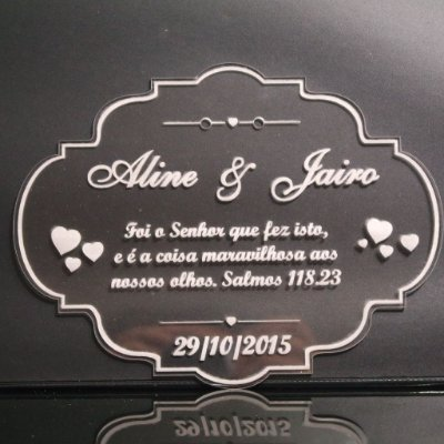 Porta Aliança Anel Casamento Entrada do Pajem Acrílico Transparente Gravado