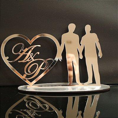 Topo De Bolo Casal Homoafetivo - com 14cm (maior lado da peça) - Cor à Escolher