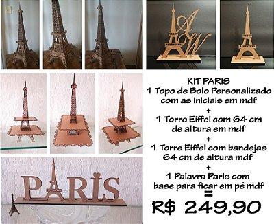 Kit Paris Com Bandeja Dupla Torre Eiffel, Topo De Bolo, Nome