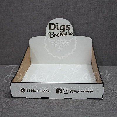 5 Expositores de Brownie com 27x20cm em Mdf BRANCO com logomarca gravada