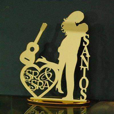 Topo De Bolo - Tamanho com 14cm (maior lado da peça) - Cor à Escolher