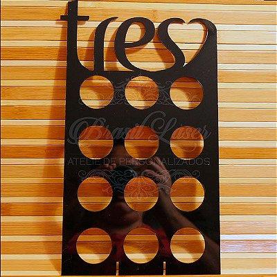 Porta Cápsulas Tres 12 Cápsulas (3 Corações) - Cor e Tipo Material a Escolher