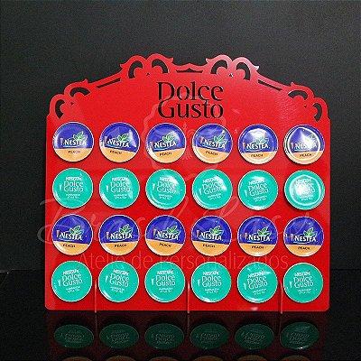 Porta Cápsulas Dolce Gusto p/ 24 Cápsulas (Nescafé) - Cor e Tipo Material a Escolher