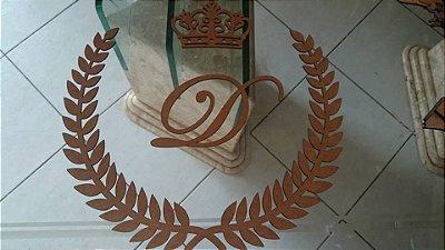 Ramagem com Inicial e Coroa Decorativo em Mdf - Vários Tamanhos