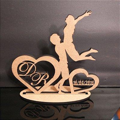 Topo De Bolo Casal - com 14cm (maior lado da peça) - Cor à Escolher