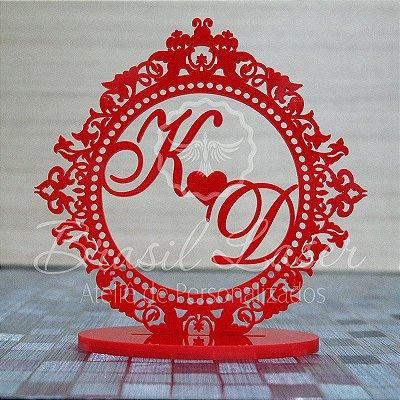 Topo De Bolo Para Casamento ou 15 anos - Tamanho com 20cm (maior lado da peça) - Cor à Escolher