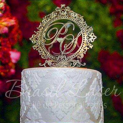 Topo De Bolo para Aniversários ou Casamento com 14cm (maior lado da peça) - Cor à Escolher