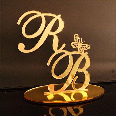Topo De Bolo Para Casamentos - Tamanho com 20cm (maior lado da peça) - Cor à Escolher
