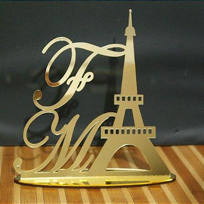 Topo De Bolo 15 anos Paris Torre Eiffel - Tamanho 20cm (Maior Lado da Peça) - Cor à Escolher