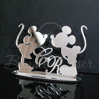 Topo De Bolo Mickey e Minnie com 14cm (maior lado da peça) - Cor à Escolher
