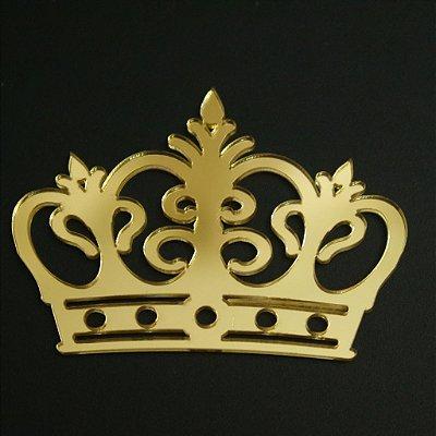 Coroa em Acrílico Espelhado Dourado - Tamanhos disponibilizados na opção do anúncio