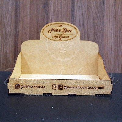 10 Expositores de Brownie / Alfajor / Palha Italiana / Cake / Pão de Mel com 22x22cm em Mdf com logomarca gravada